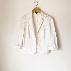 Express white quarter sleeve blazer